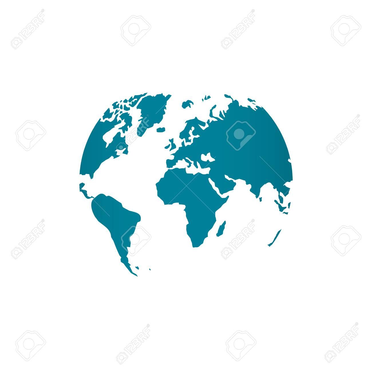 Blue world map globe vector illustration isolated on white blue world map globe vector illustration isolated on white background stylized in sphere shape stock vector gumiabroncs Gallery