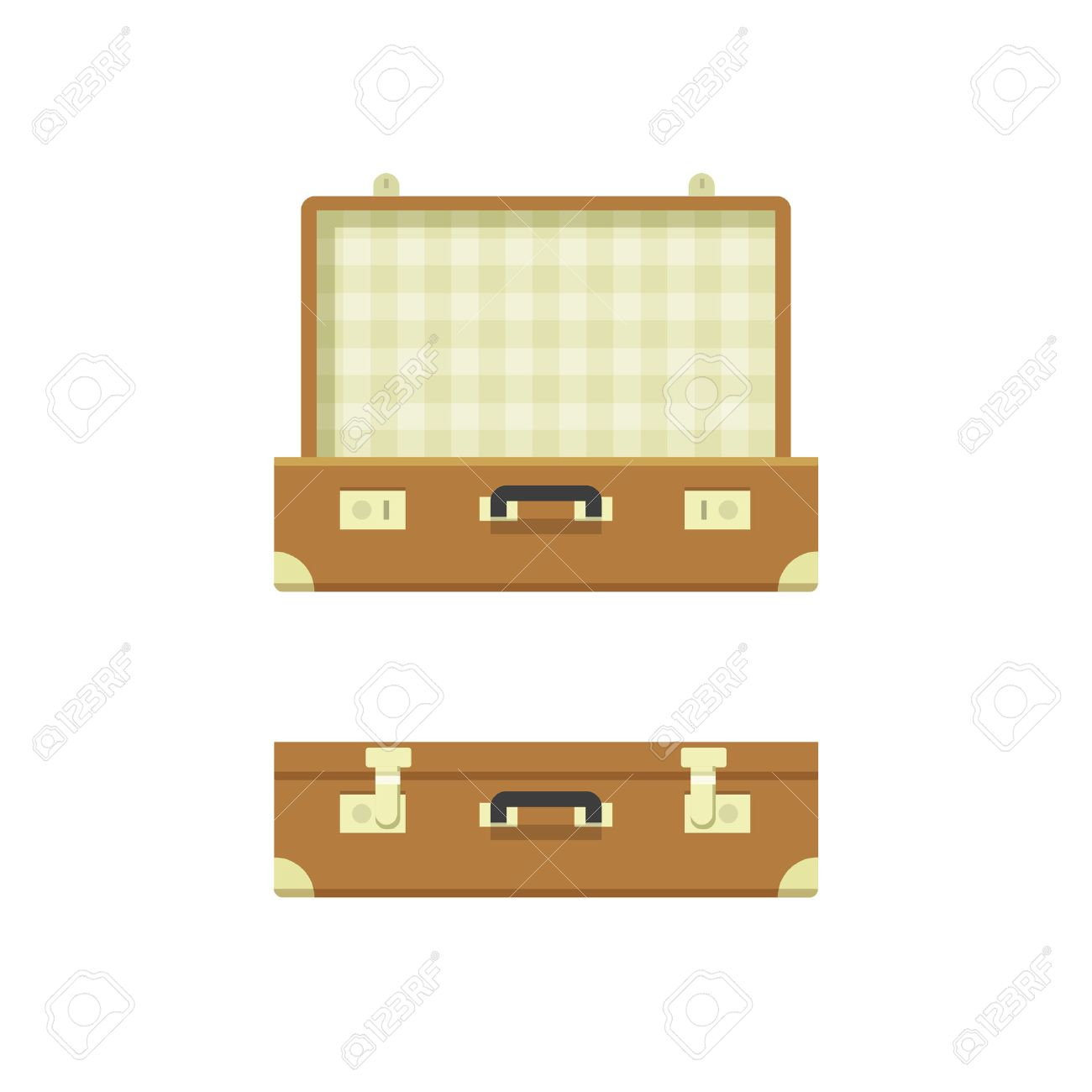 Suitcase open, suitcase closed vector illustration isolated on white background, textured suitcase opened and closed, travel suitcases flat cartoon case design - 55786314