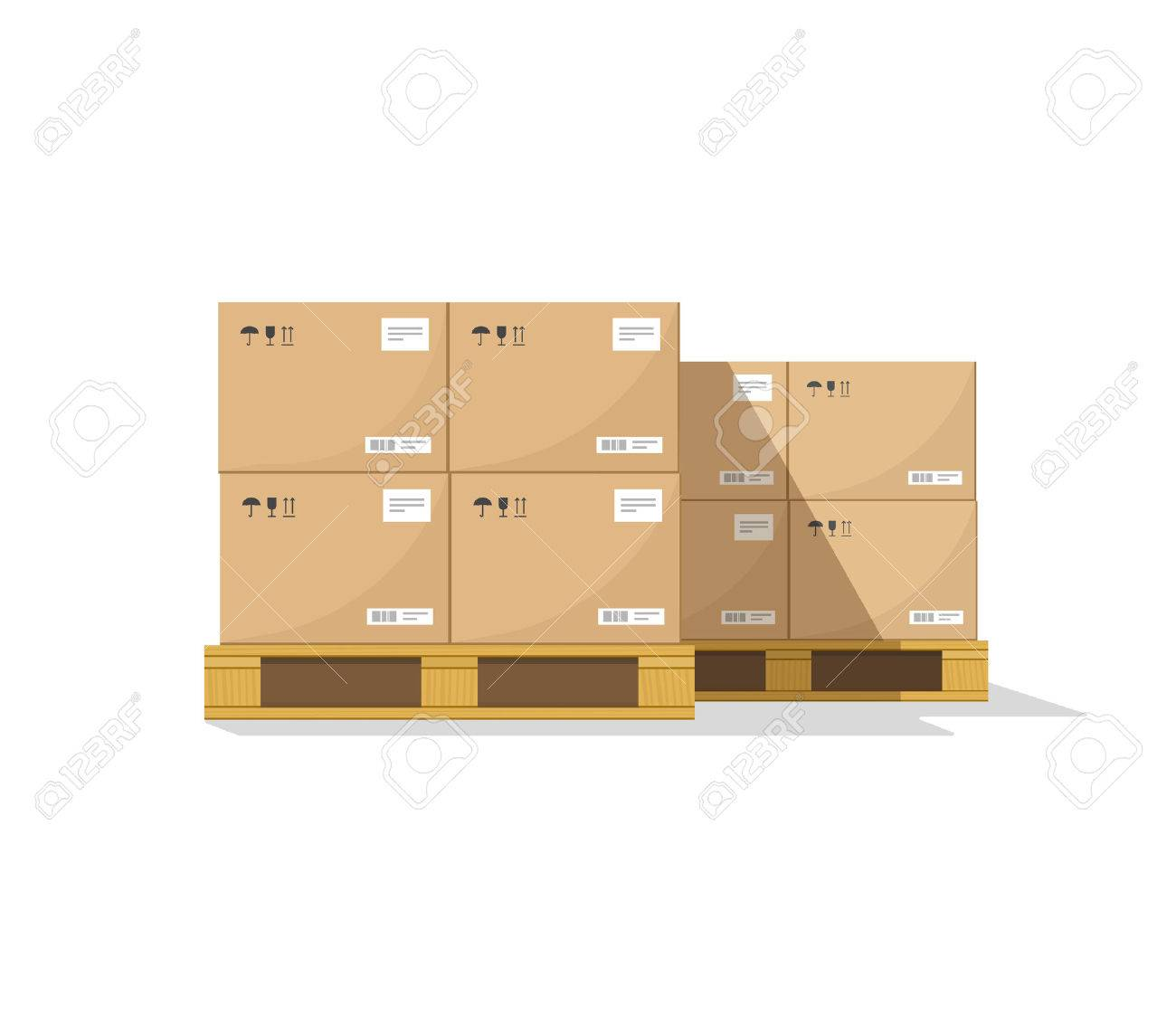 Warehouse parts boxes on wooden pallet vector illustration with shadow, cardboard cargo boxes, barcode, pictograms and abstract text stickers ready for loading, flat cartoon design isolated on white - 56657219