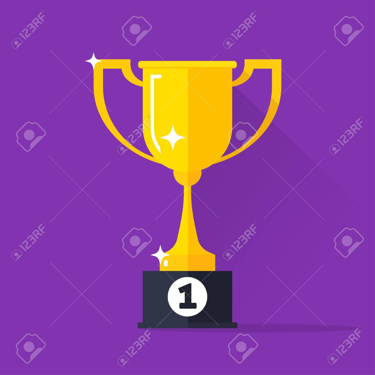 Golden Cup Vector Illustration Gold Trophy Goblet Flat Simple Icon Concept Of Award