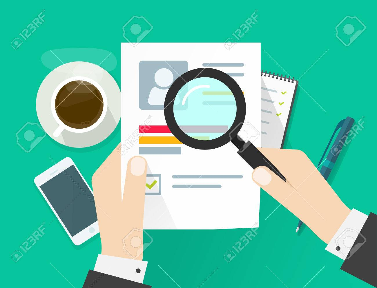 Cv Anwendung Papierblatt Geschäftsmann Hände Lebenslauf Dokument