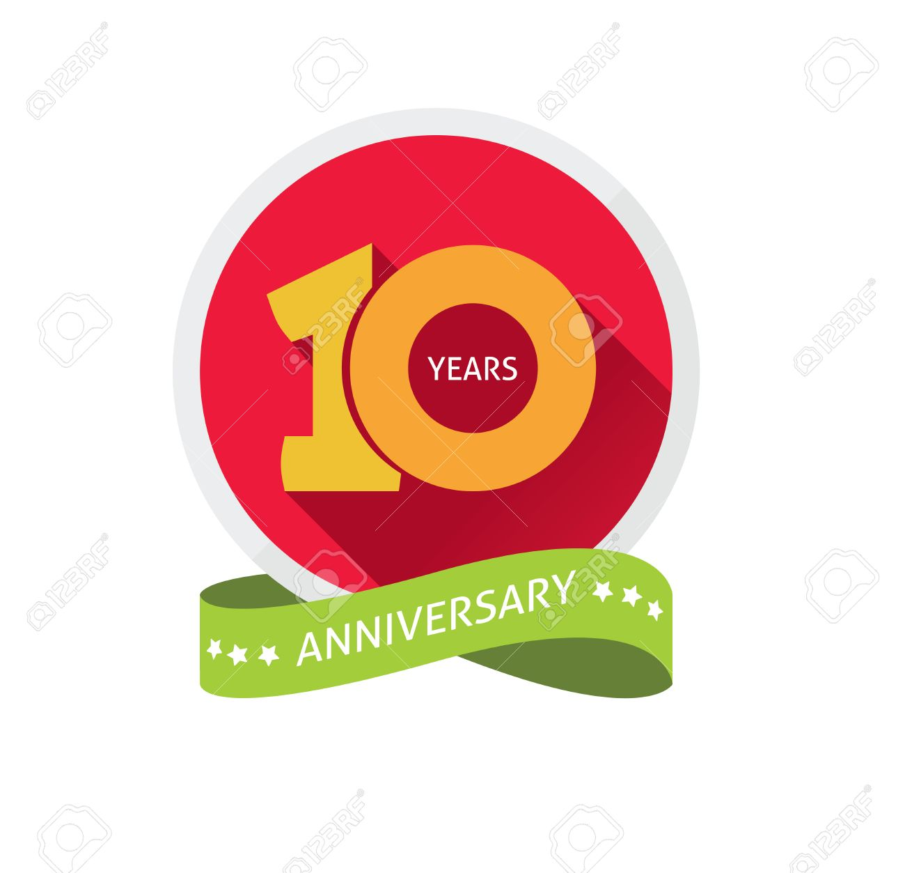 Anniversary 10th template with a shadow on circle and the number 1 one. 10 years anniversary icon. Ten years birthday party symbol. Tenth company. Promotion sale sticker ribbon, poster, emblem - 56657393