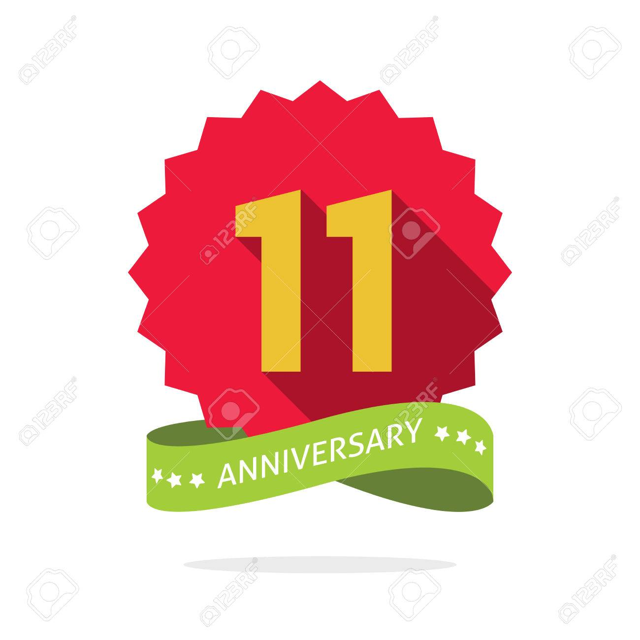 11th anniversary badge with shadow on red starburst and yellow