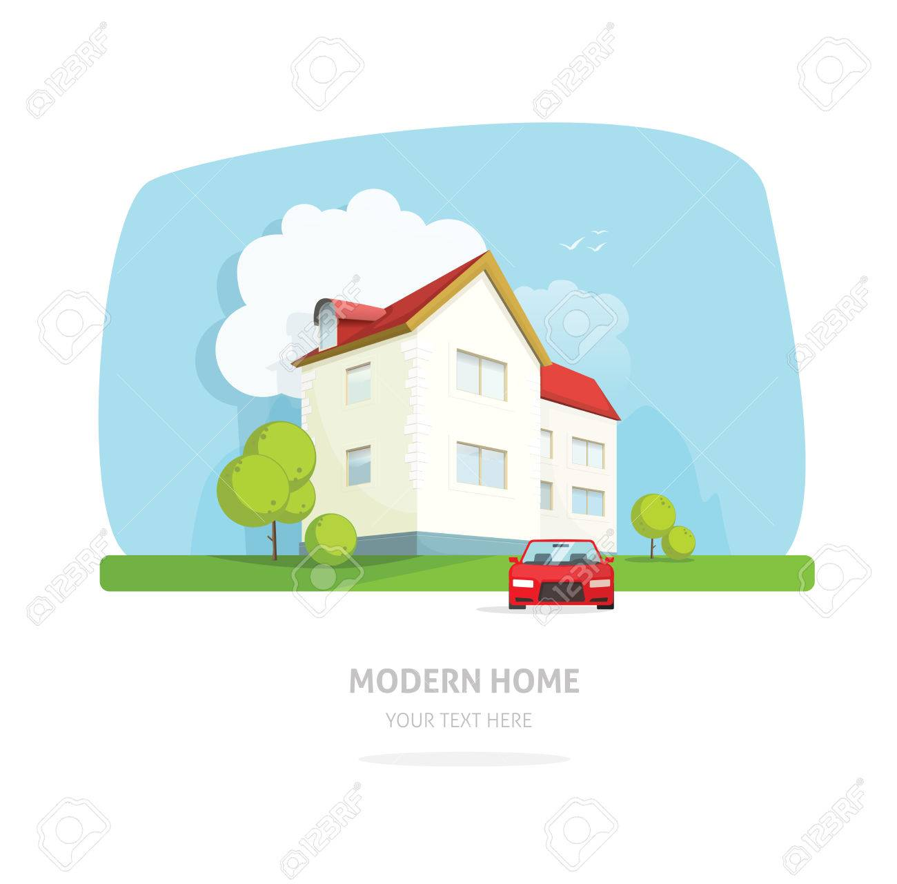 Startseite Fassade Zeitgenössischen Modernen Flachen Stil. Haus ...