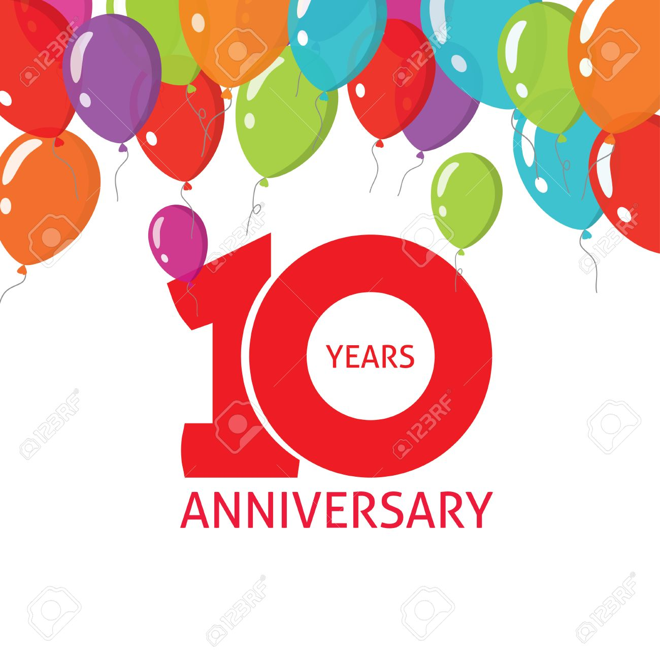 10th anniversary balloons poster number 1 one. 10 years anniversary icon sticker design. Ten years birthday party glossy balloon symbol. Tenth anniversary, badge, ribbon, banner, emblem, tag - 57404687