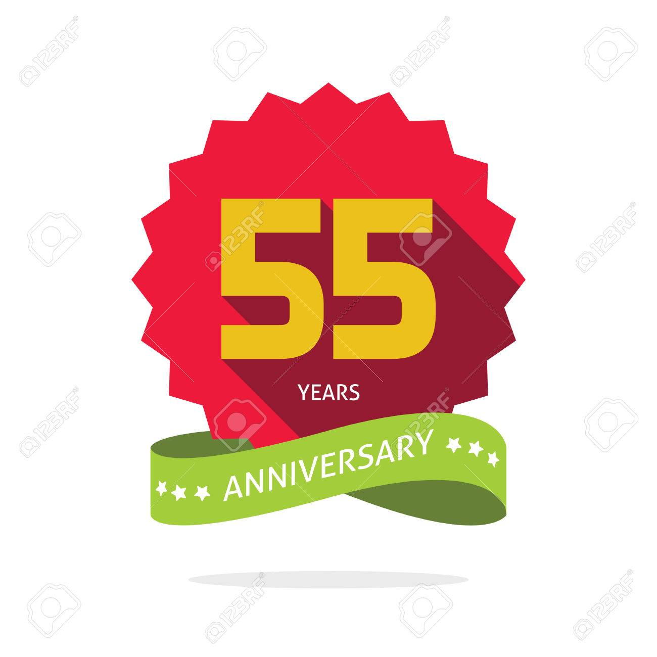 55 years anniversary label , shadow on star, number 55 five, 55th years anniversary icon. Fifty five birthday party symbol. Fifty fifth promotion sale sticker ribbon, poster, emblem - 57441091