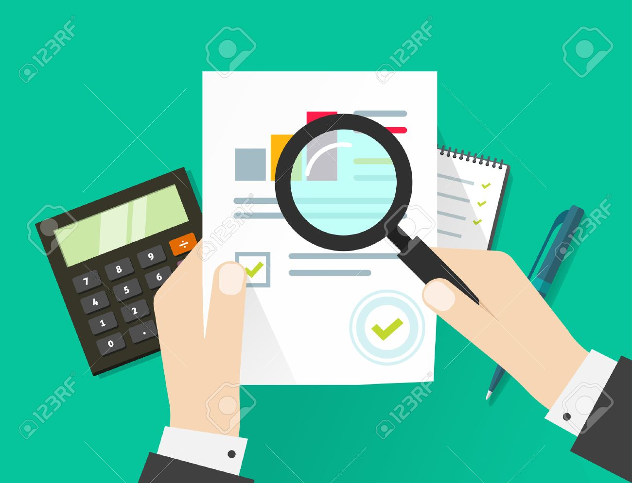 Paper sheet, hands, magnifier, paperwork, consultant, business adviser financial audit, auditing tax process, big data analysis, seo analytics, financial research report, market stats calculate - 57441090