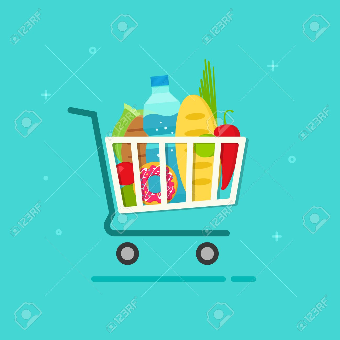 Grocery cart vector illustration isolated on color background, flat cartoon grocery shopping cart icon with fresh organic food products, groceries supermarket trolley - 57962295