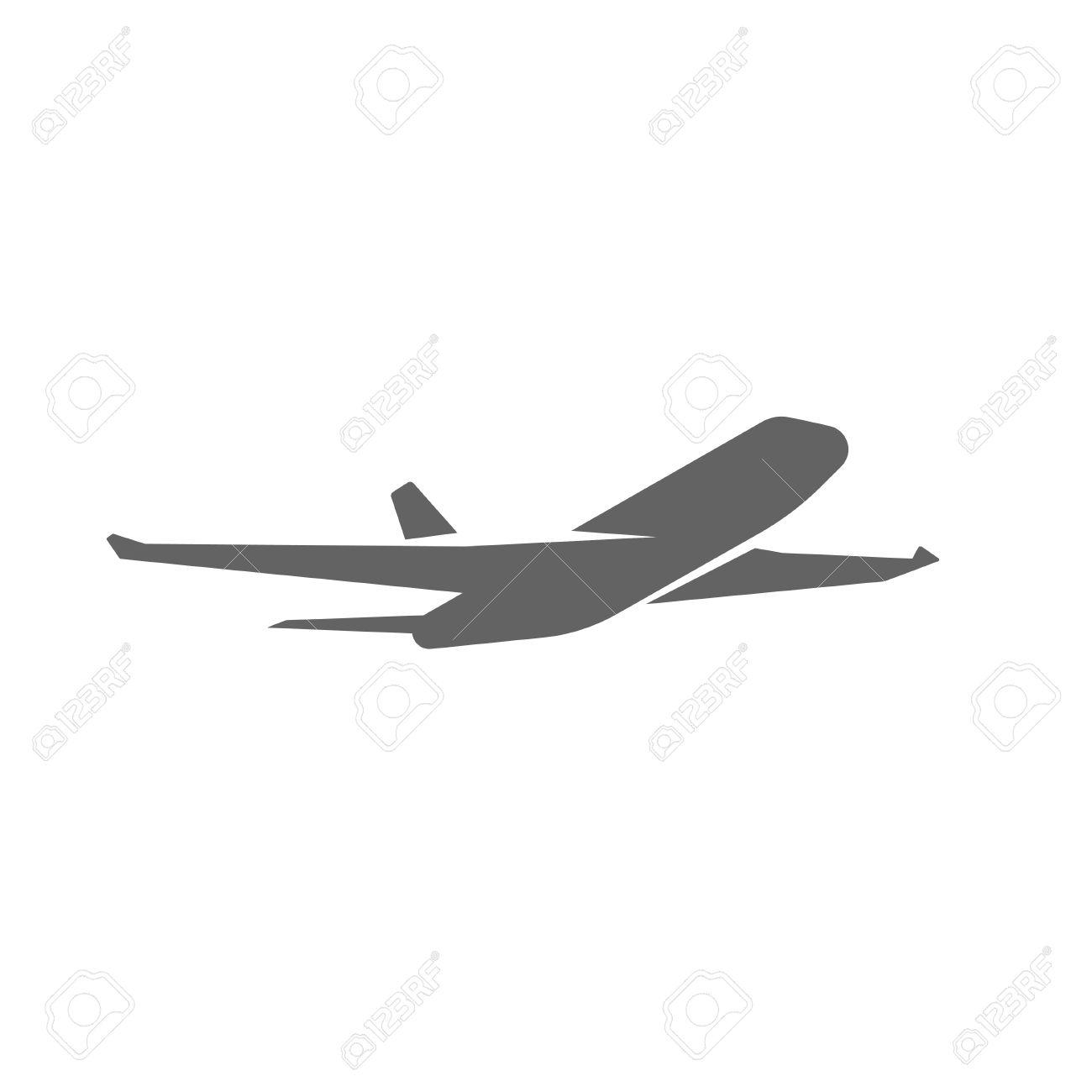 Plane taking off silhouette vector illustration, black airplane