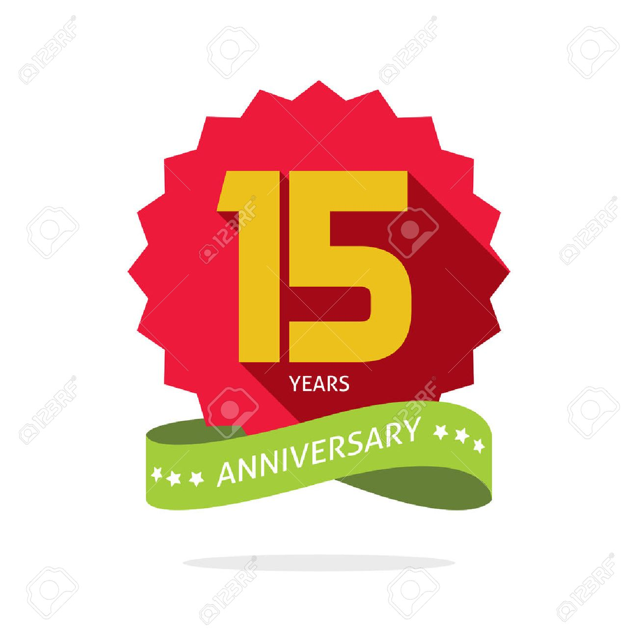 Years 15 Anniversary Vector Label Logo Shadow On Circle Number