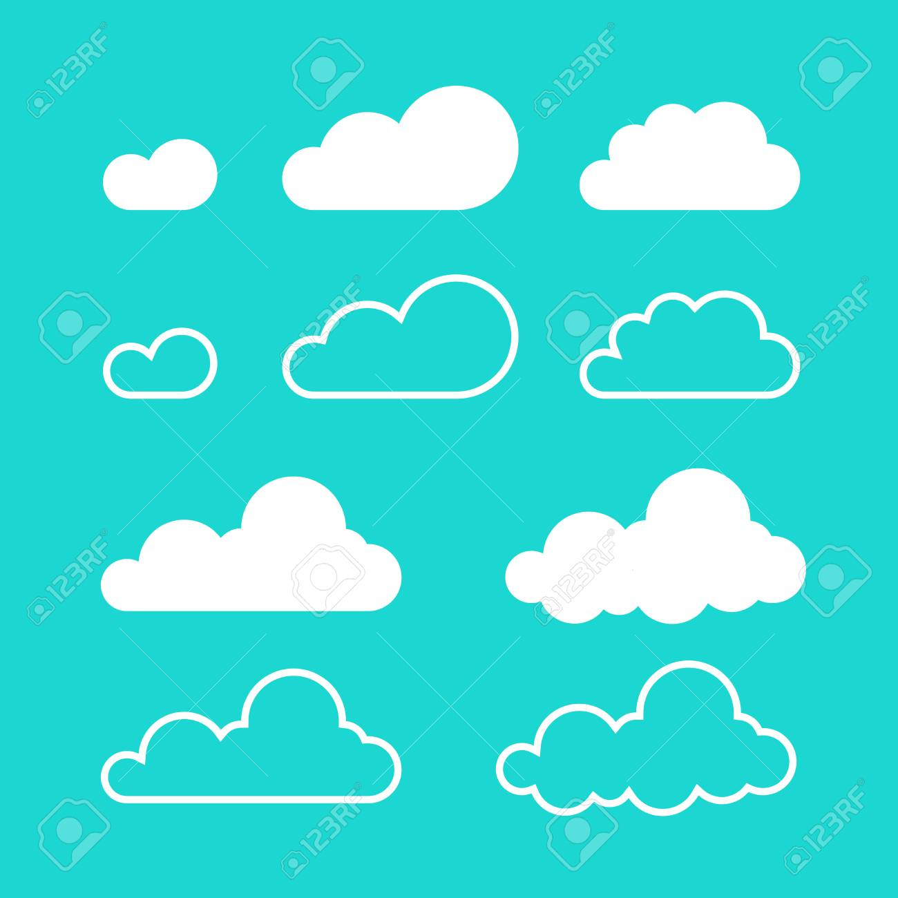 Clouds Vector Isolated On Blue Sky Background Flat Cartoon Cloud Set Collection Of Line