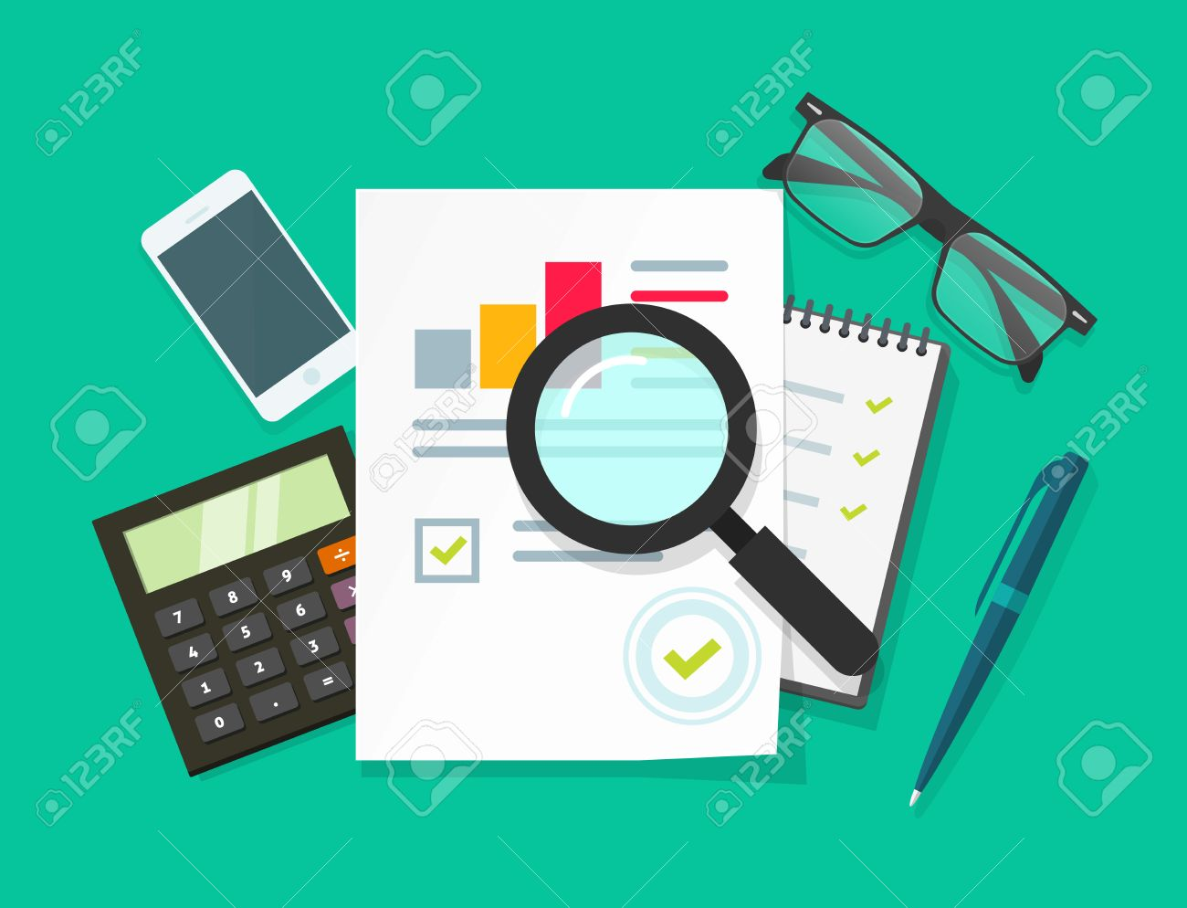 auditor work desk accounting paperwork business research