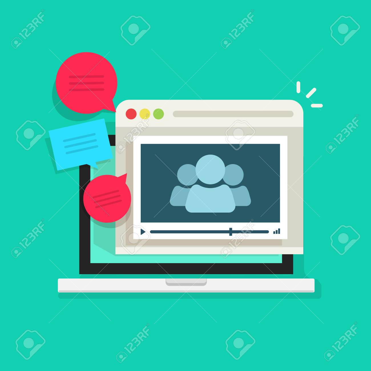 Online video conference vector icon isolated, abstract group of people in laptop video player speaking, talking, video call technology, online meeting communication concept, webinar icon - 58615554
