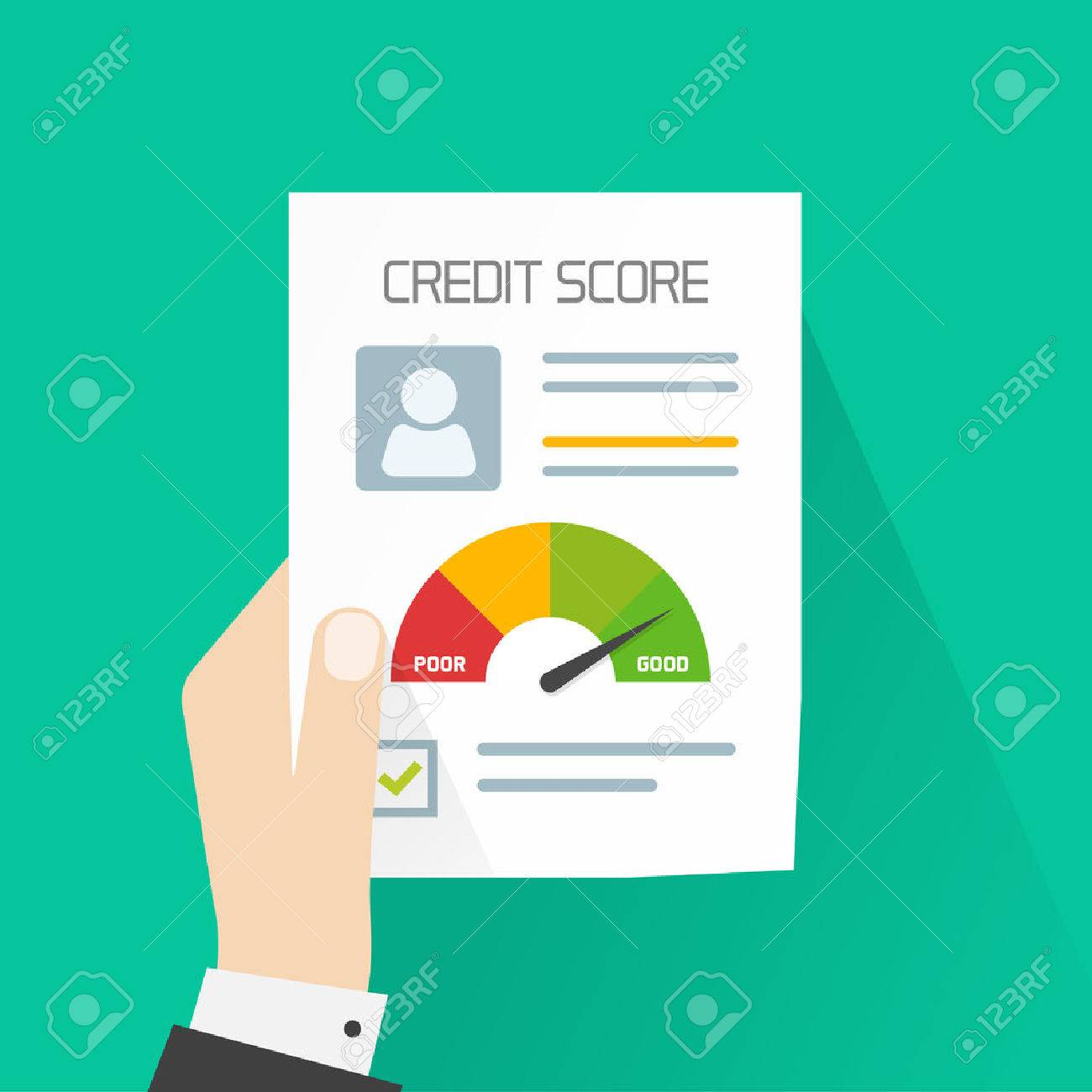 Credit score document vector concept, banker hand holding paper sheet chart of personal credit score information, person data report form, good index of credit history and approved stamp isolated - 59051072