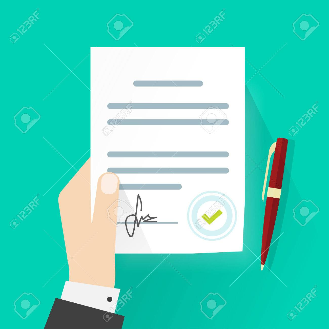 Business man hand holding contract agreement vector illustration, signed treaty paper with pen, legal document symbol with stamp, documentation flat sign modern design isolated on green background - 59051079