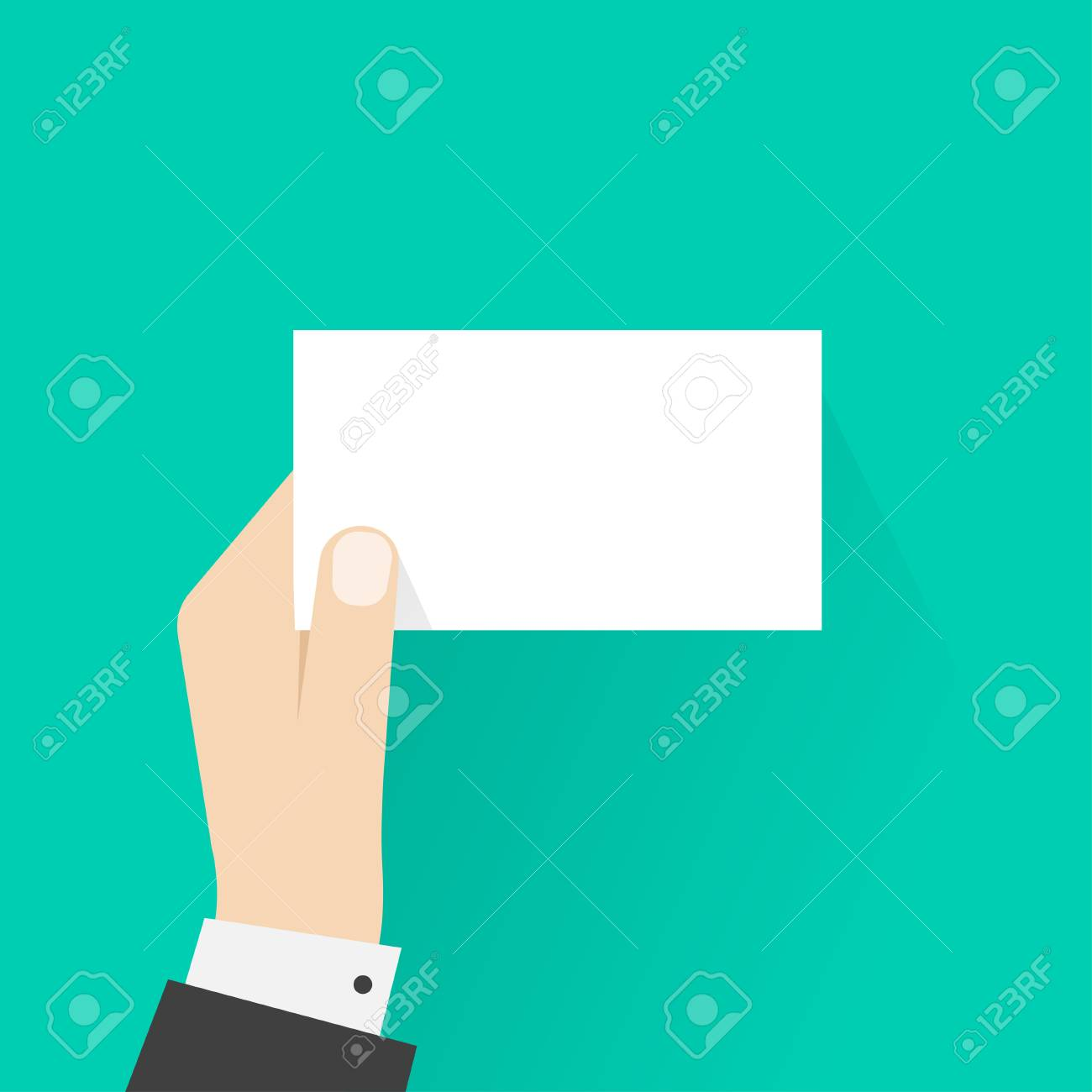 Business Man Hand Holding Card Mockup Template Vector Illustration Showing Blank Calling Empty