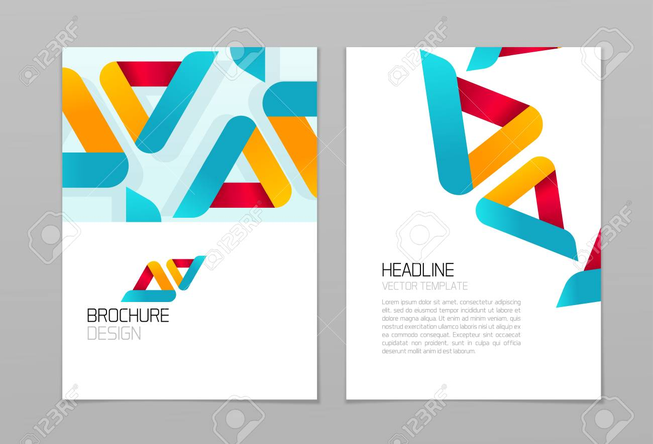brochure flyer vector design with business abstract shapes