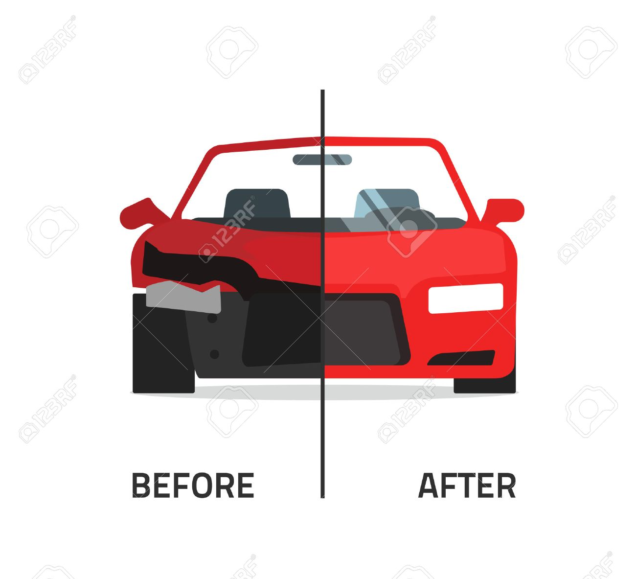 Car body frame repair vector illustration, auto body paint concept, automobile service, vehicle automotive technology help, before after, flat icon isolated crushed auto, poster design banner emblem - 59742335