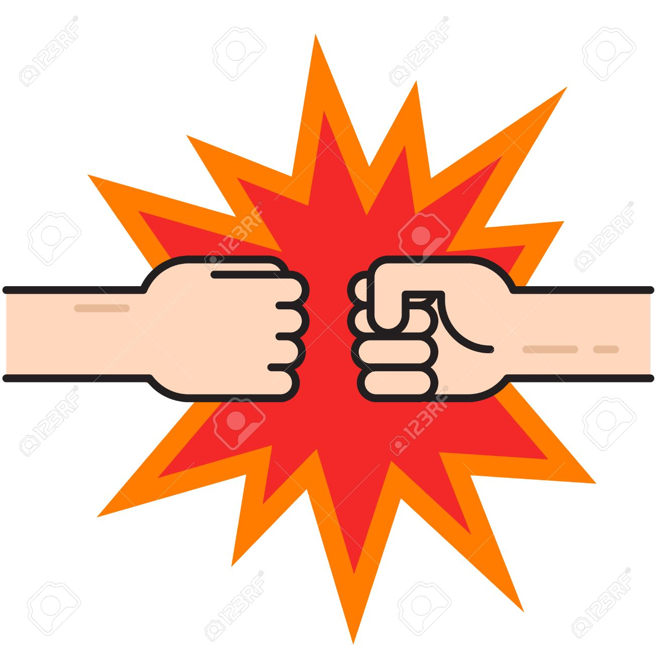 Two fists bumping together vector illustration, two hands with fists in air punching, concept of fight, strength cartoon gesture on white background, flat line outline art - 59740706