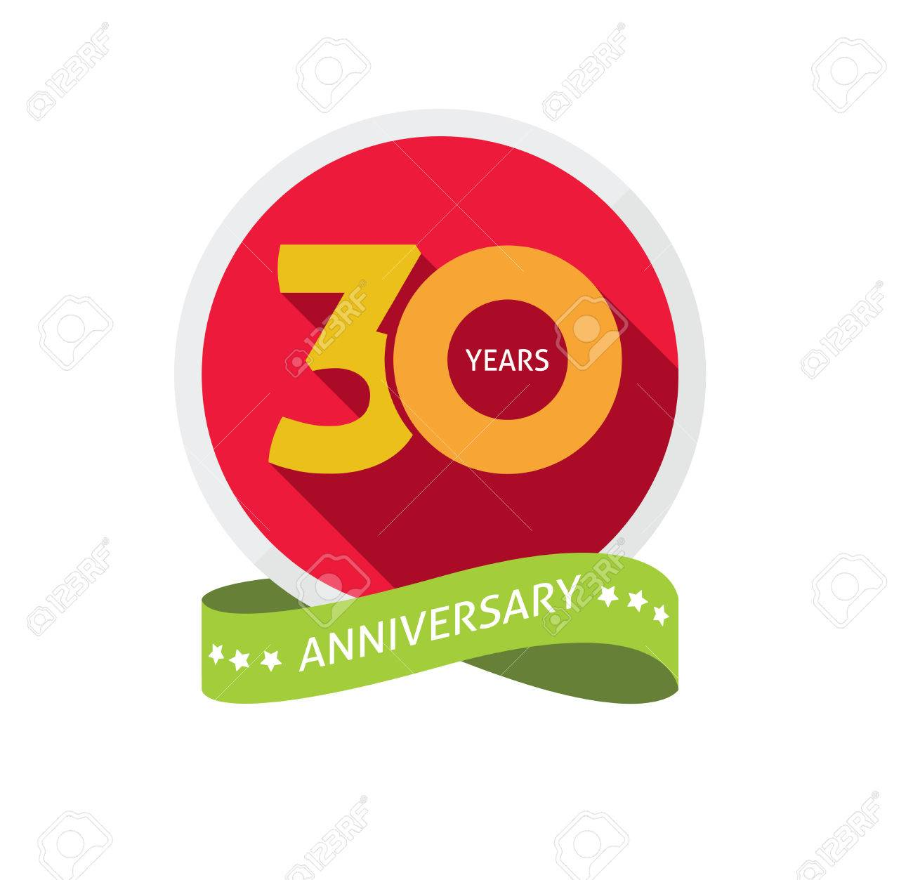 30th Anniversary Template With Shadow Number 30 Years Icon
