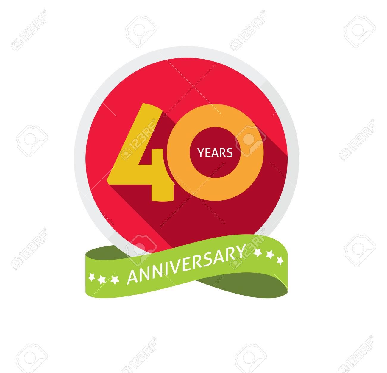 Festa Di Quarant Anni modello 40 ° anniversario con l'ombra sul numero di cerchio, di 40 anni  l'icona. quarant'anni simbolo festa di compleanno. adesivo vacanze  trentesimo,
