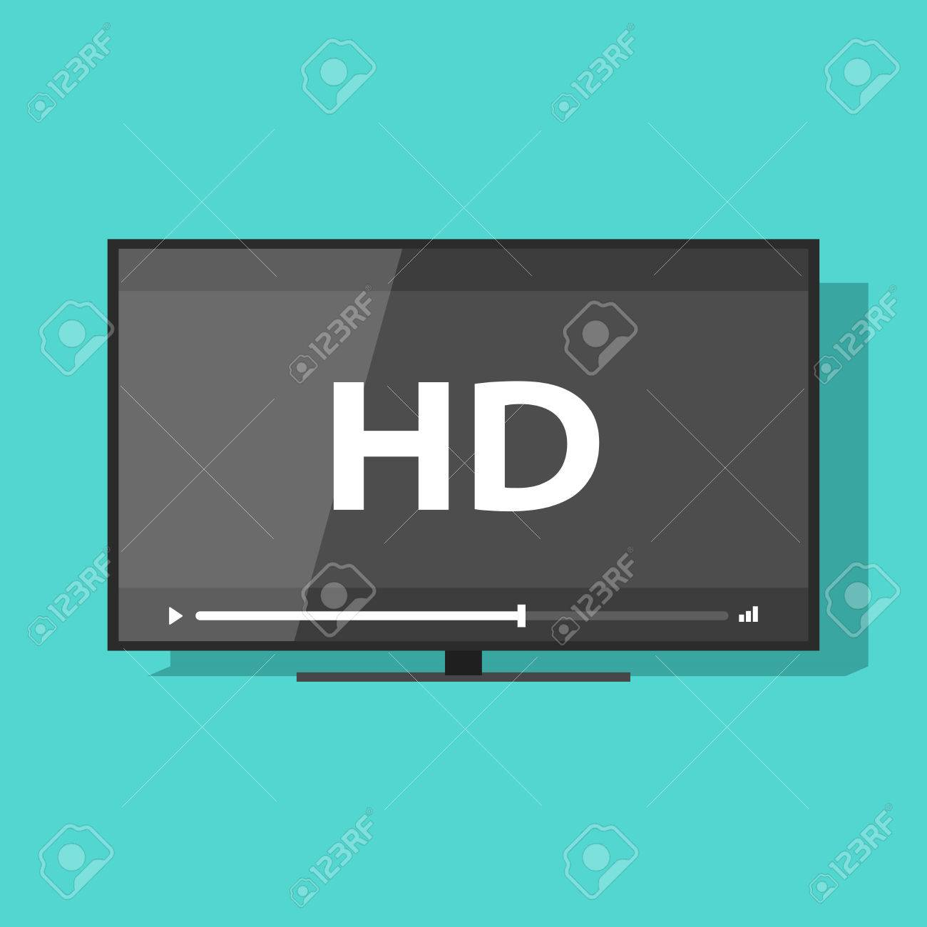 Flat screen tv with HD video label vector icon, led television