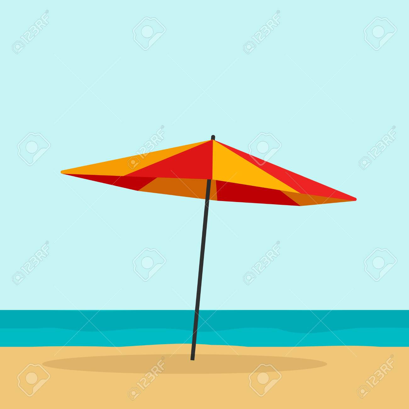 Dessin Parasol parasol illustration vectorielle isolé, dessin animé plat orange