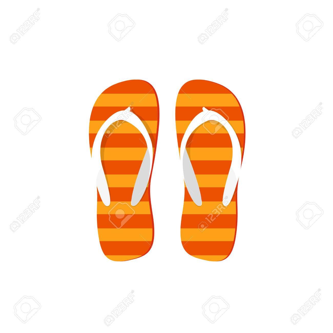 a451285d2df57 Orange Flip-flops Vector Illustration Isolated On White Background ...