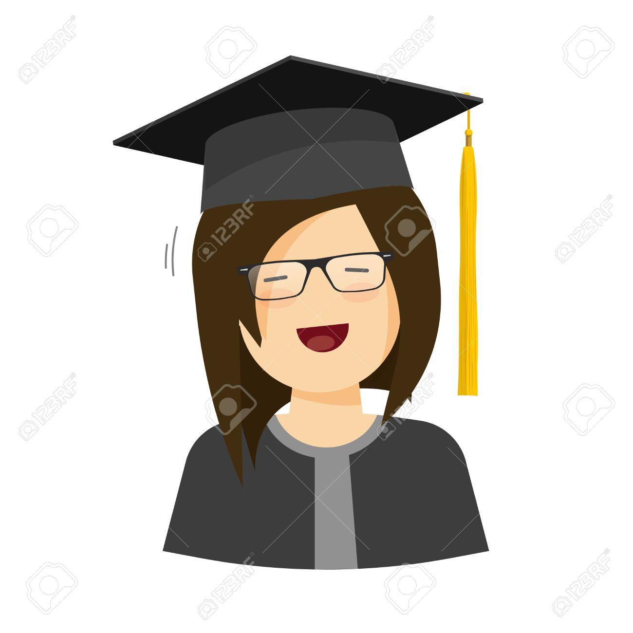 Happy Student Girl Vector Illustration, Flat Cartoon Female ...