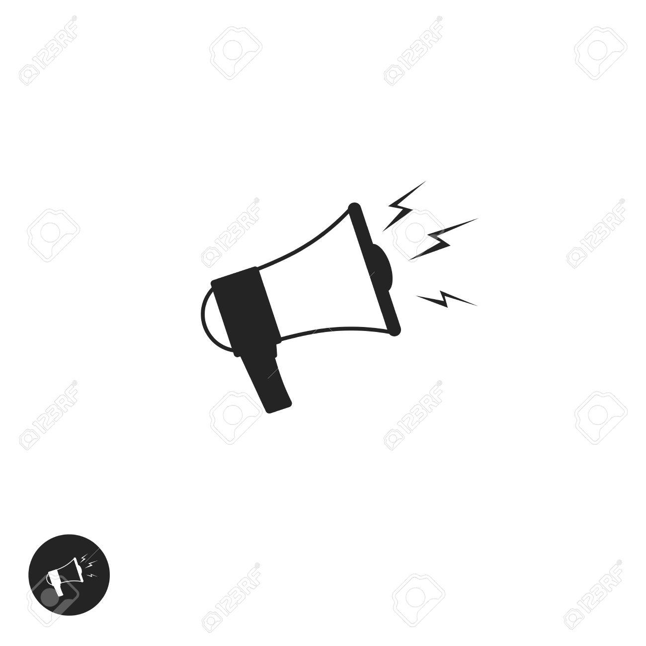 Megaphone Vector Icon Isolated On White Background, Flat Cartoon ...