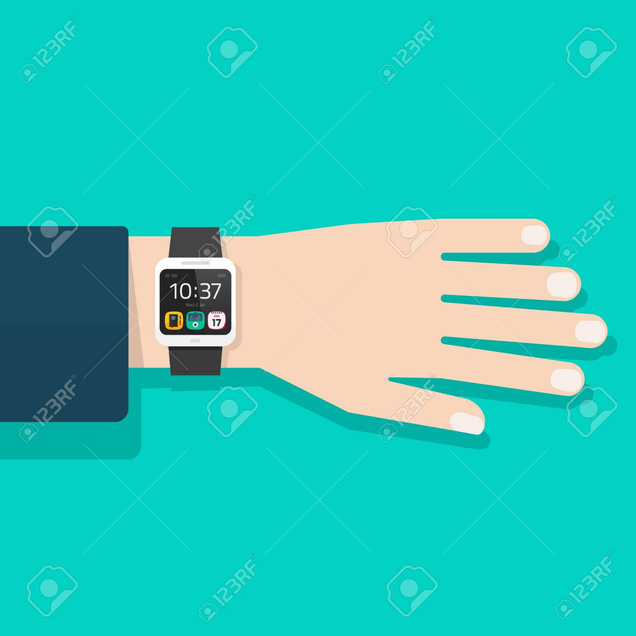 Man hand with smart watch vector illustration isolated, black digital clock on business man wrist, flat cartoon modern smart wristwatch on male hand - 64881695