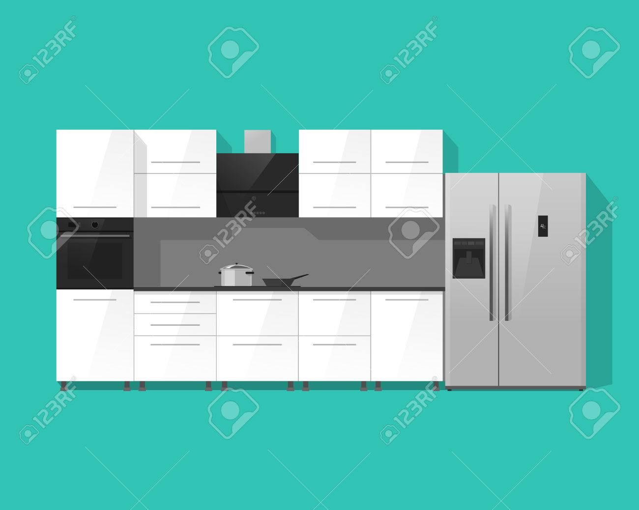 Küche Innenraum Vektor-Illustration Isoliert Auf Grün Farbe ...