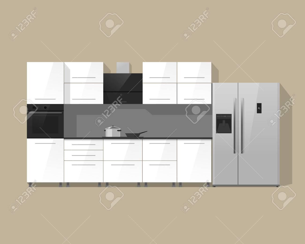 Cocina, los muebles ilustración del vector aislado en el fondo de color,  interior de la cocina blanca con negro horno, nevera y cocina de plata del  ...