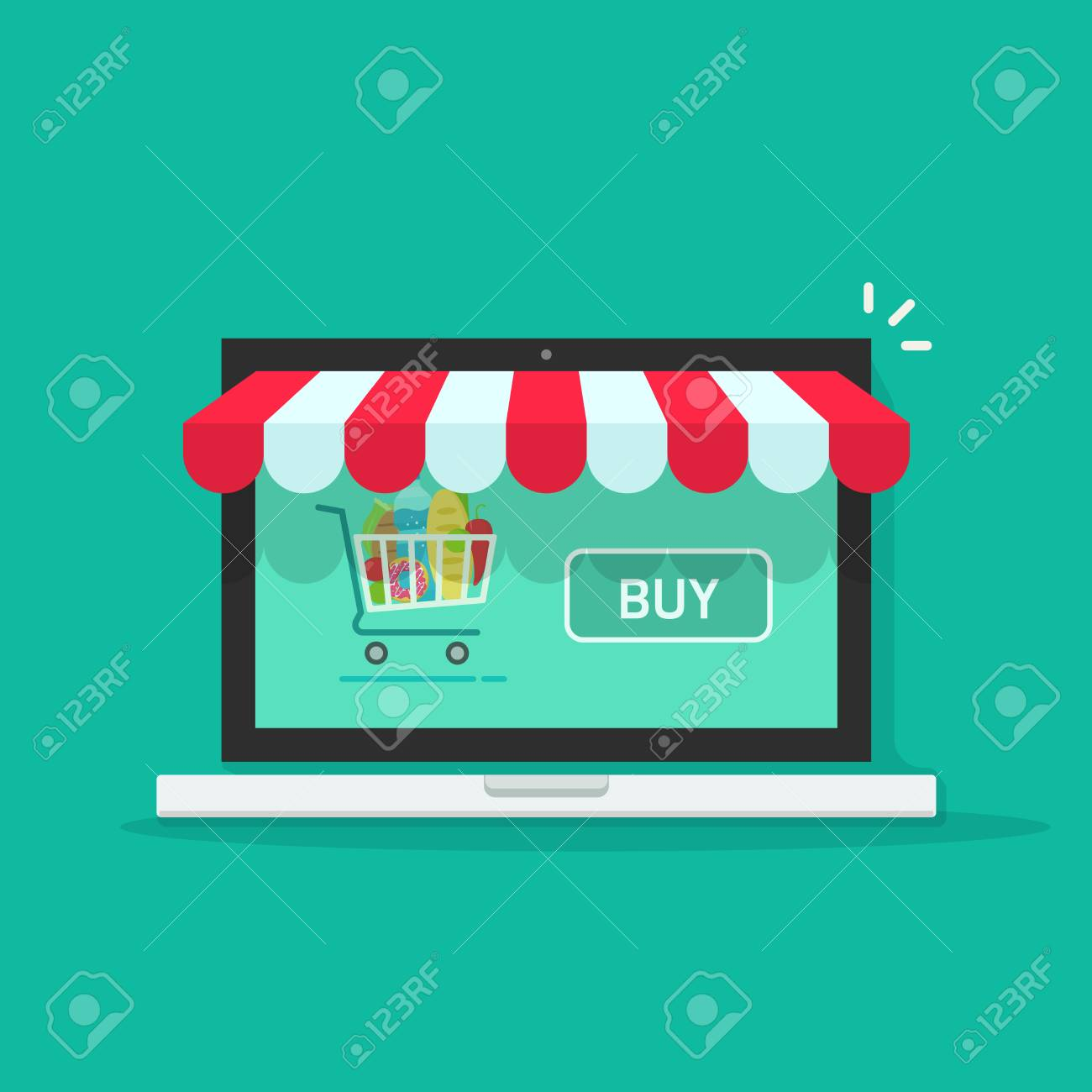 Konzept Der Online Shop E Commerce Shop Internet Geschaft Vektor