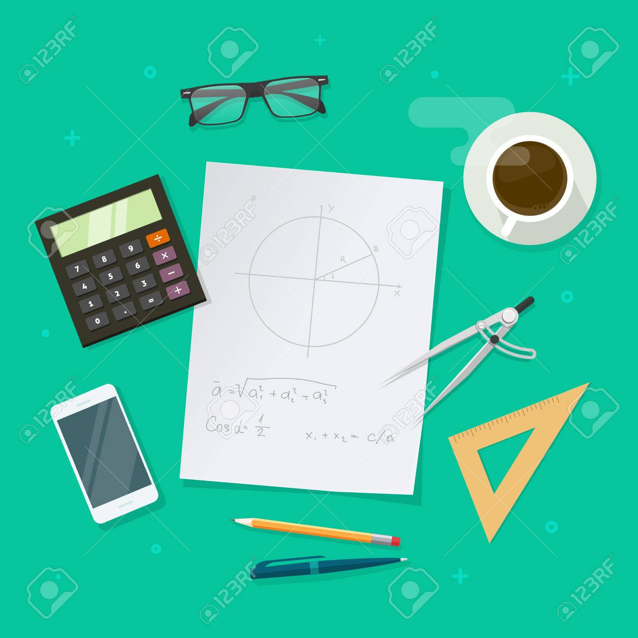 School Lesson Study Concept, Education Objects On Work Desk Top ...