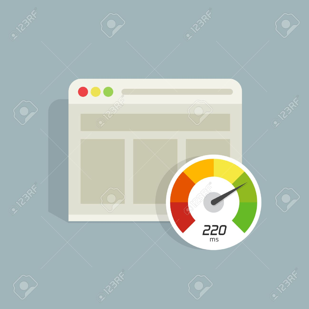 Website speed loading time vector icon isolated, web browser with speedometer test showing fast good page loading time illustration, seo analyzer, optimization, performance - 68408493