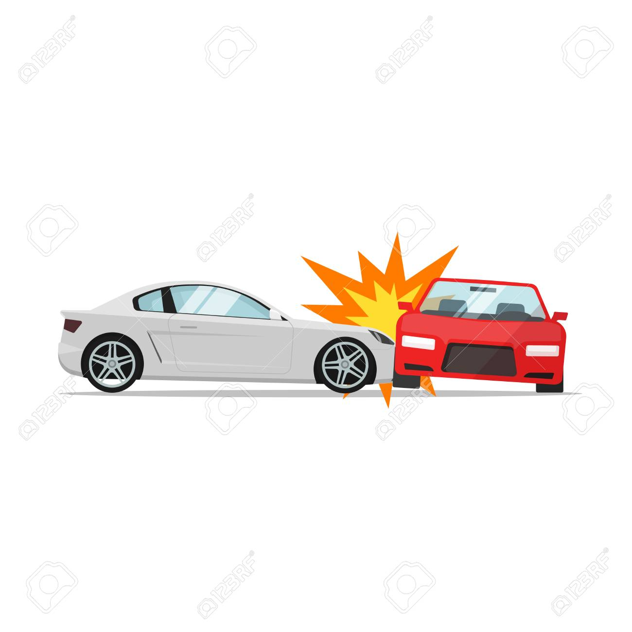 Car Crash Vector Illustration Flat Cartoon Style, Two Automobiles ...