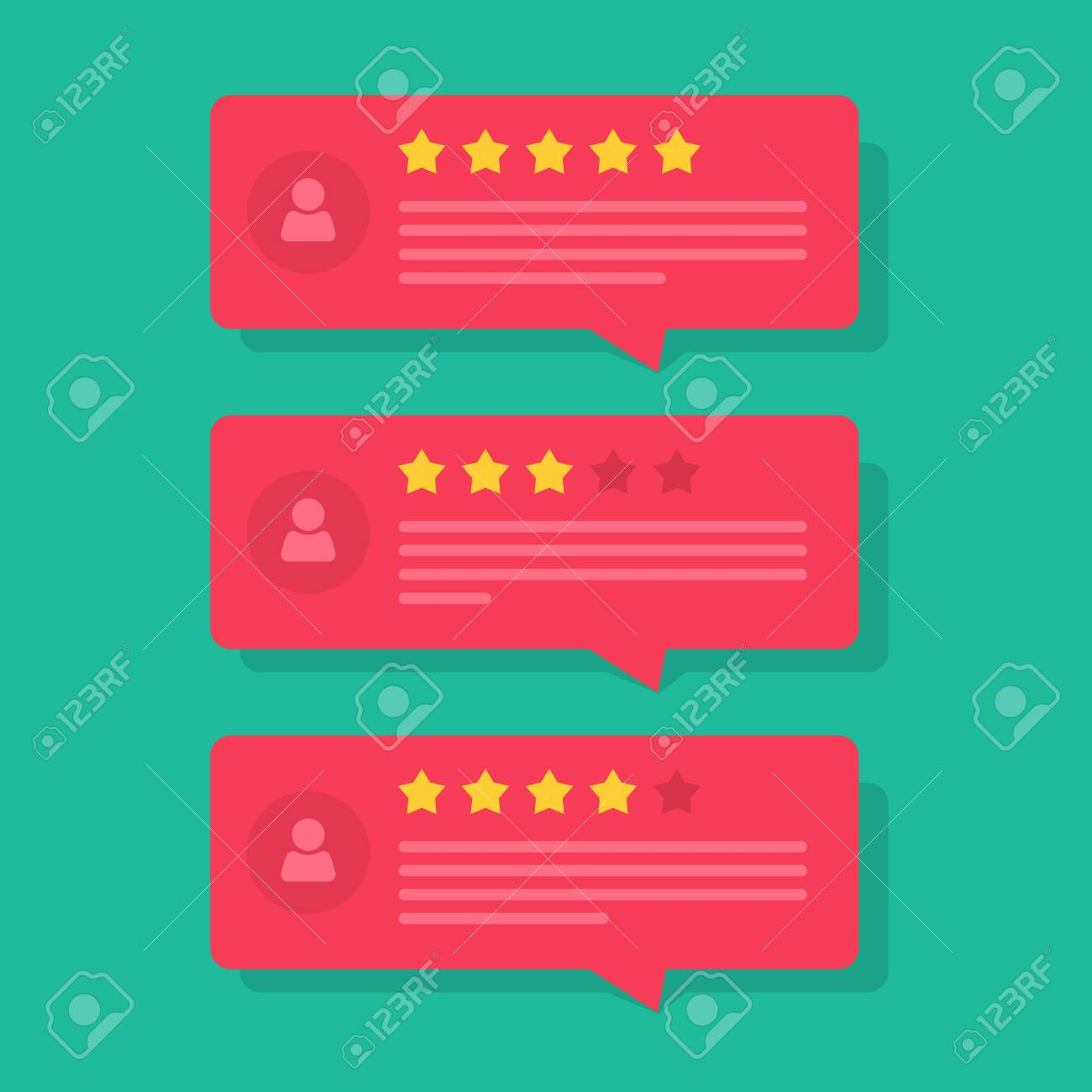 Review rating bubble speeches vector illustration, flat style reviews stars with good and bad rate and text, concept of testimonial messages, notification alerts, feedback evaluation - 72305538