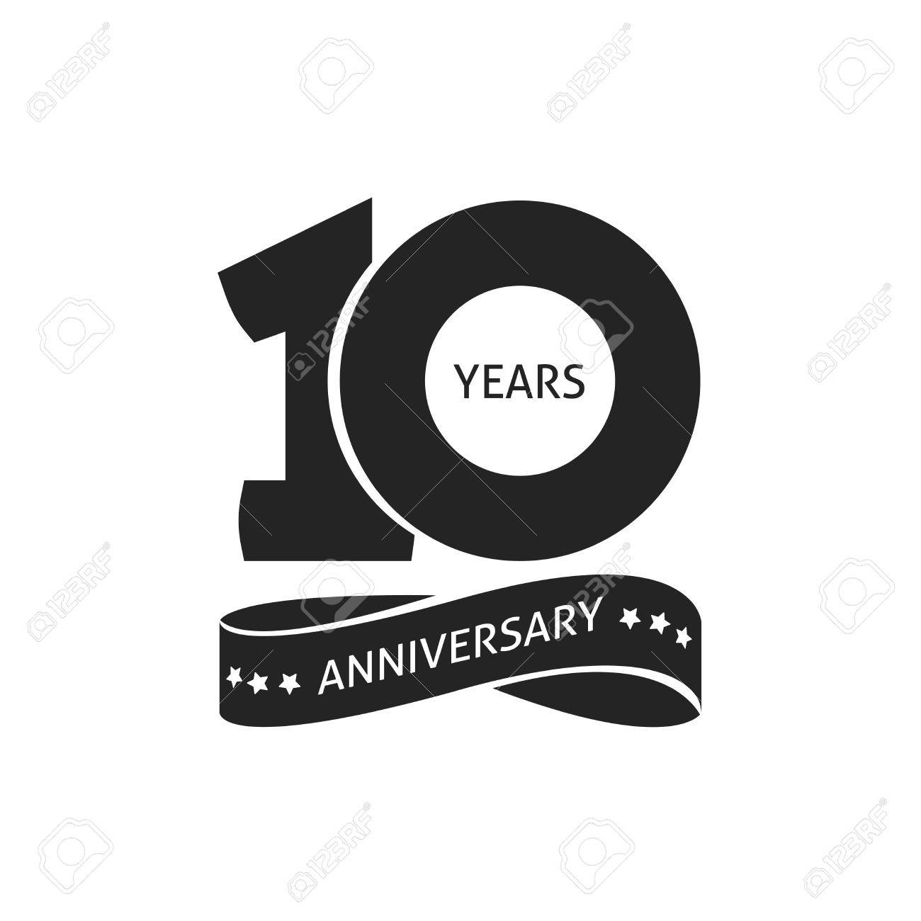 10 years anniversary pictogram vector icon, 10th year birthday logo label, black and white stamp isolated - 72305537