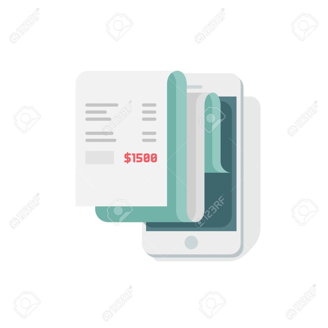 receipt in smartphone vector illustration flat style mobile