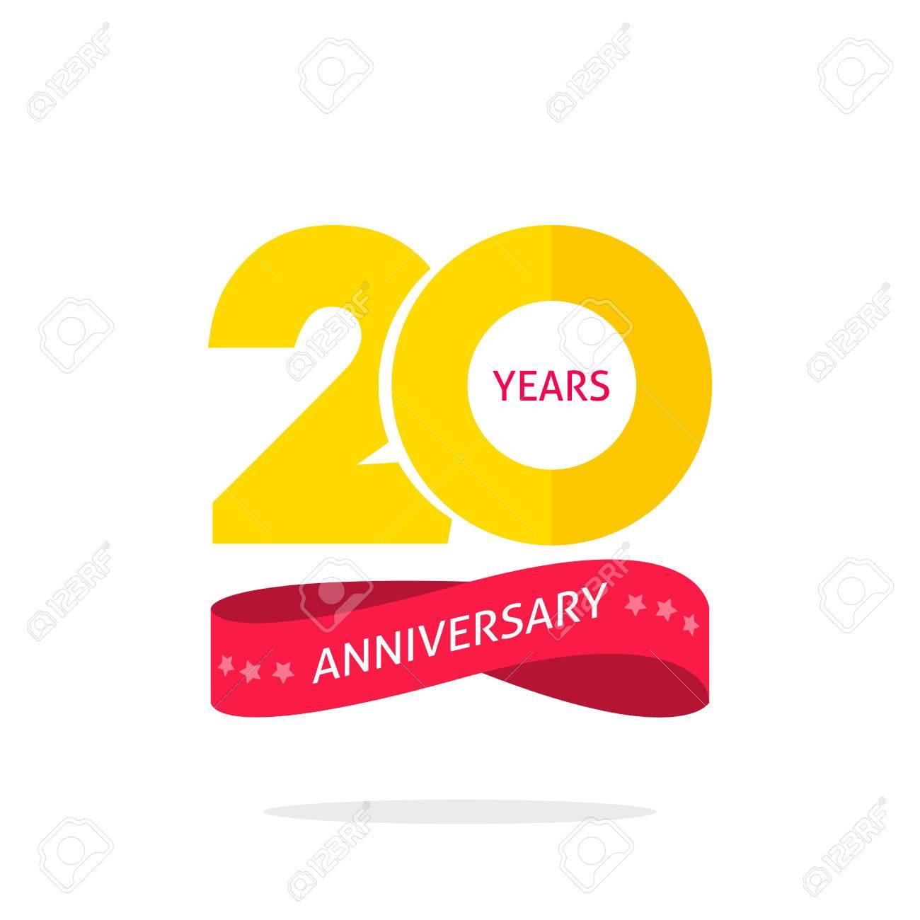 20 Jaar Jubileum Logo Sjabloon Geisoleerd Op Wit 20e Verjaardag