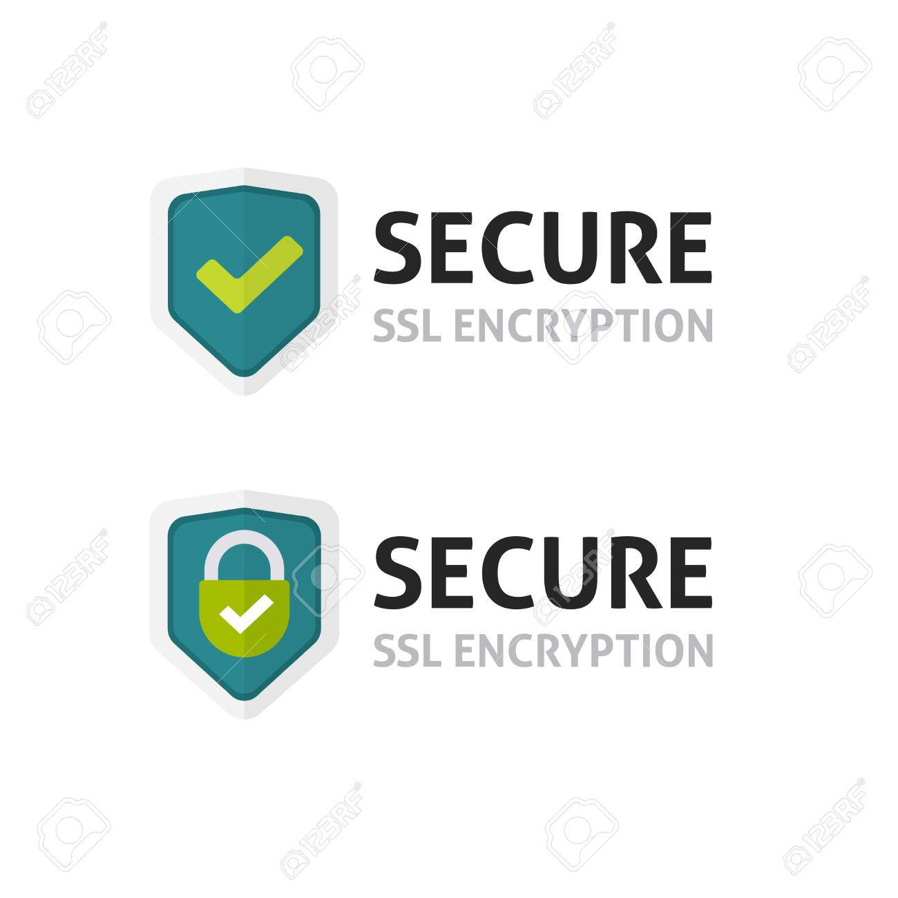 SSL certificate vector icon, secure encryption shield, protected connection label, secure lock symbol isolated on white - 74736609