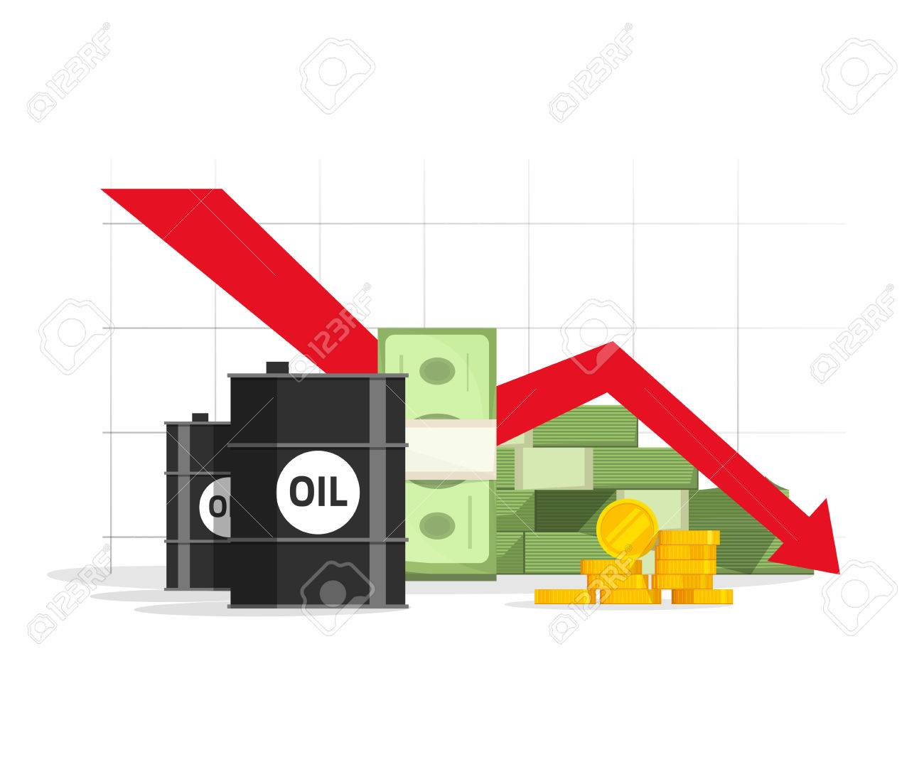 Oil money cash and gold with down arrow graph vector illustration oil money cash and gold with down arrow graph vector illustration concept economy crisis biocorpaavc Images