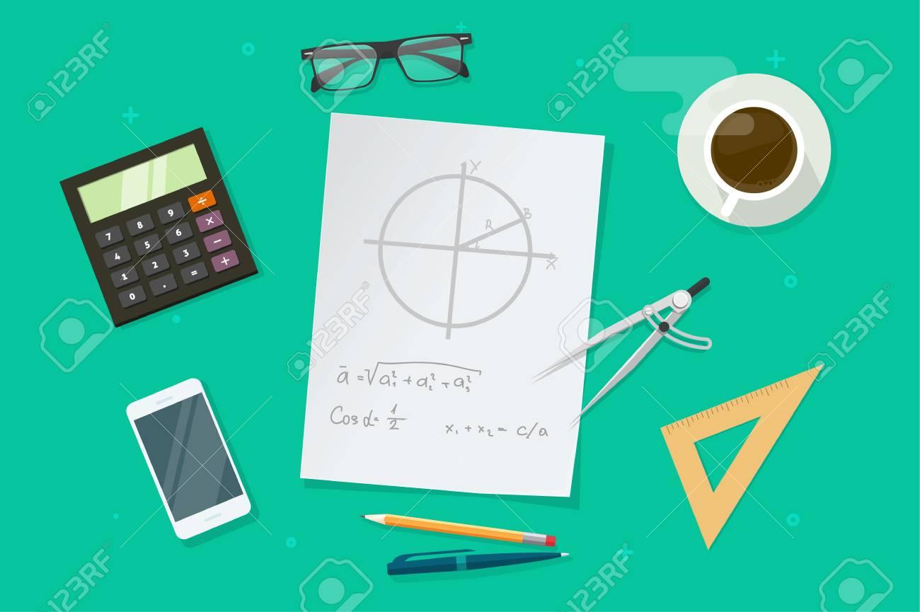 Hoja De Papel Con Fórmulas Matemáticas De Geometría Y Gráficos De ...