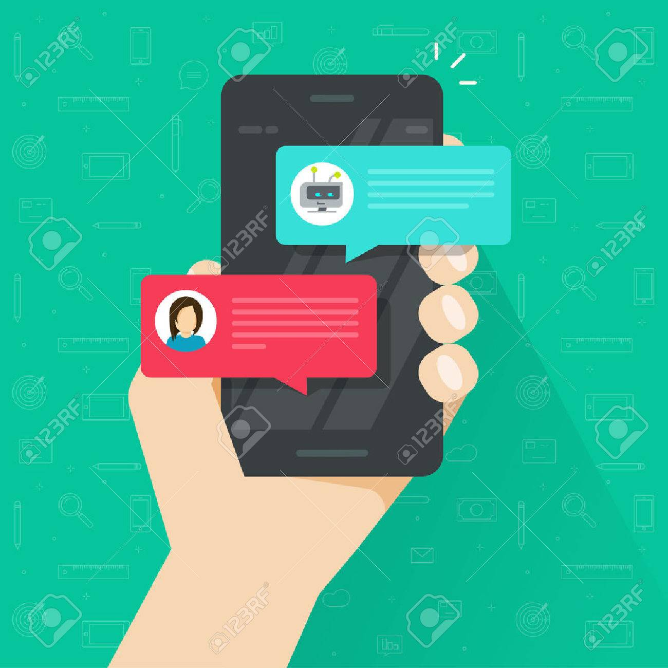 Person chatting with chatbot in mobile phone vector illustration, flat cartoon smartphone with chat bot discussion, cellphone messenger with chatbot service, communication technology - 79320228