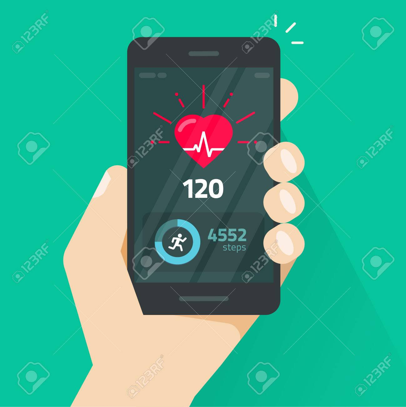 Heartbeat indicator on mobile phone screen, pulse meter with heart beat and running activity information, fitness health app on cellphone and walking steps counter vector illustration - 80568350