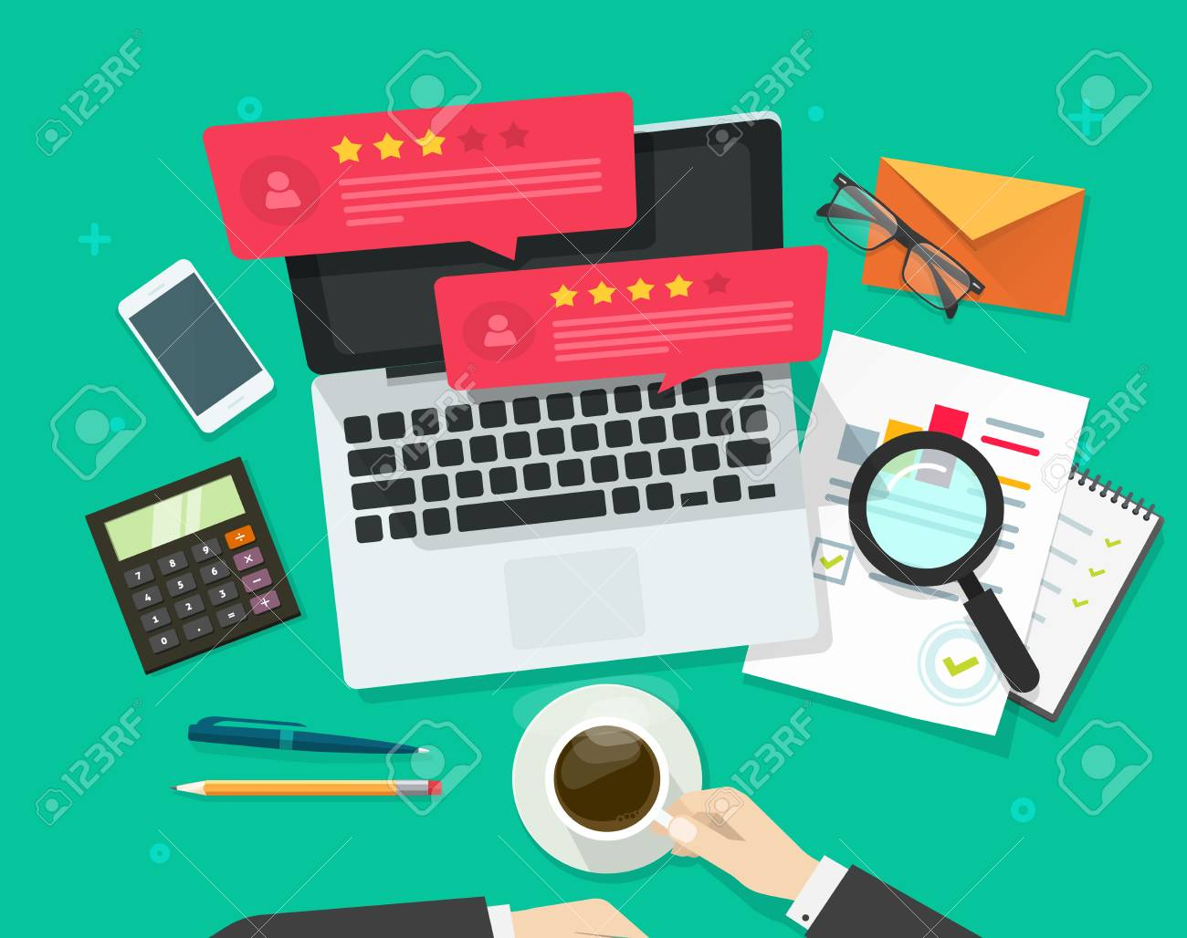 Review rating bubble speeches on computer vector illustration, flat style laptop reviews stars with good, bad rate, concept of customer testimonials messages, notifications, feedback experience - 82179843