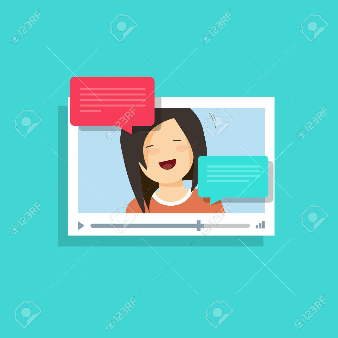 Video Chatting Online Vector Illustration Flat Cartoon