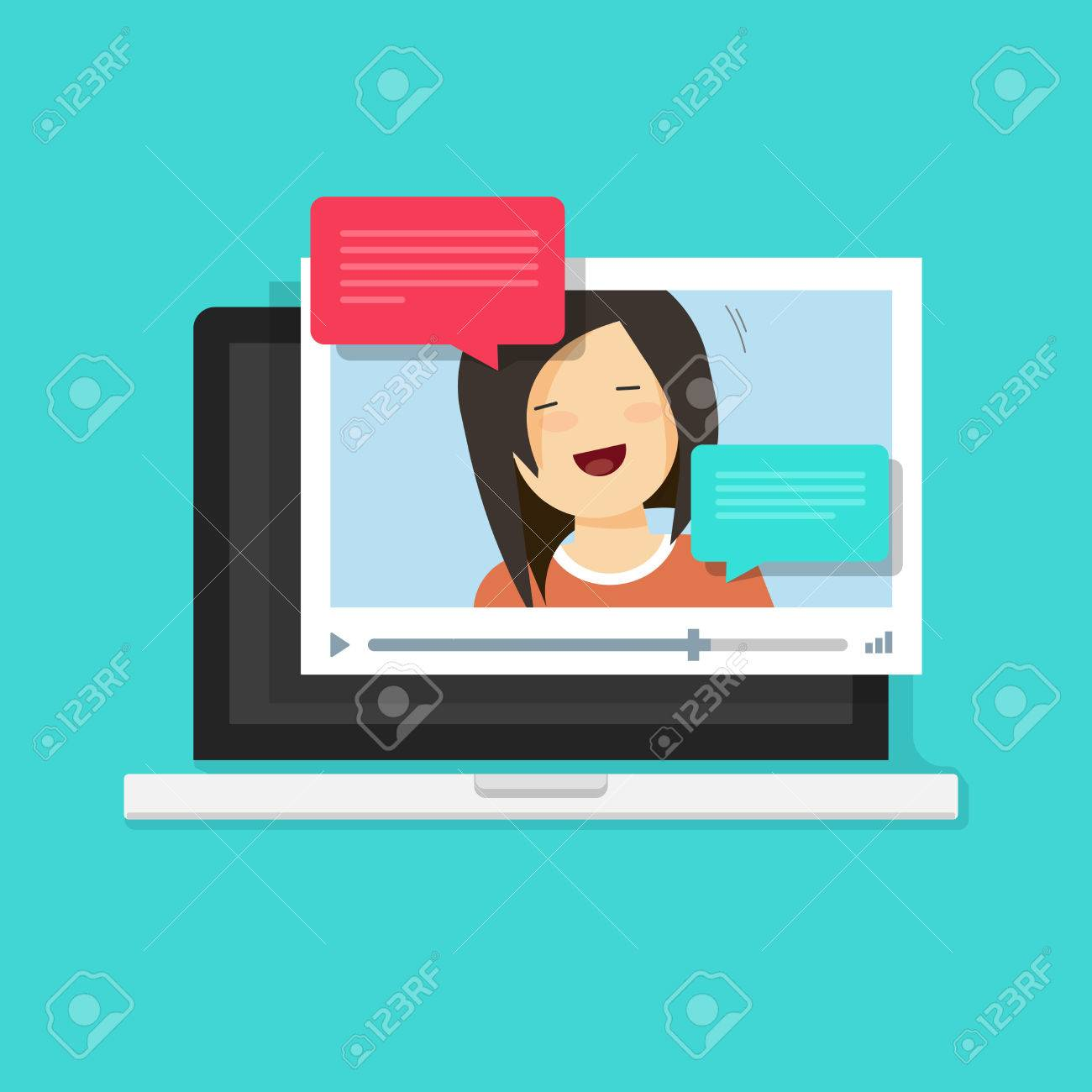 Video Chatting Online On Computer Vector Illustration Flat Cartoon