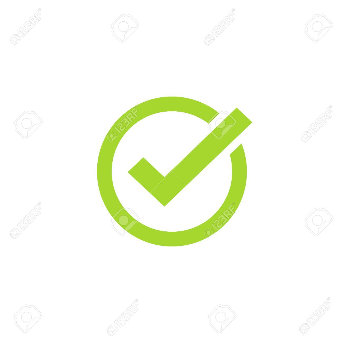 Tick Icon Vector Symbol Green Checkmark Isolated On White